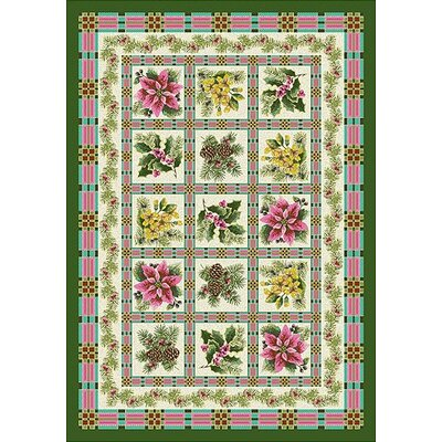 Winter Seasonal Yuletide Garden Green Area Rug Rug Size: 54 x 78