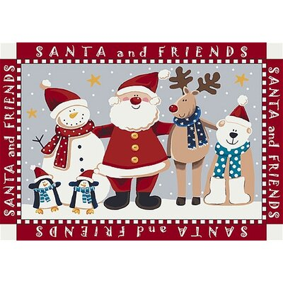Winter Santa and Friends Christmas Red Area Rug Rug Size: Rectangle 28 x 310