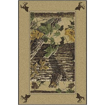Realtree X-tra Solid Border Brown Area Rug Rug Size: Rectangle 5'4