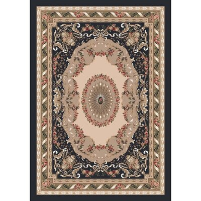 Pastiche Kashmiran Marquette Ebony Area Rug Rug Size: Rectangle 109 x 132