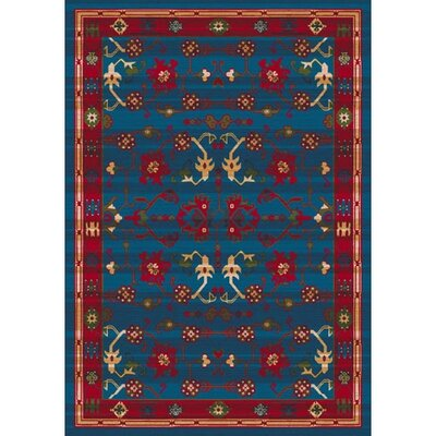 Pastiche Kashmiran Sharak Summer Night Blue Area Rug Rug Size: Oval 78 x 109