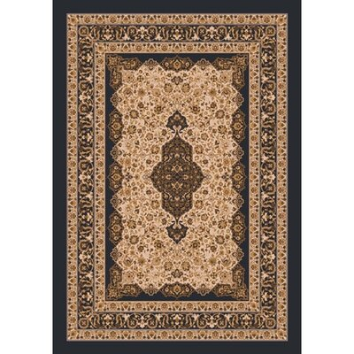 Pastiche Kashmiran Tiraz Ebony Nutshell Area Rug Rug Size: Rectangle 54 x 78