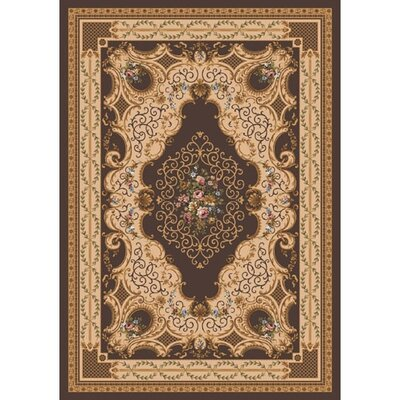 Pastiche Kashmiran Valette Leather Brown Area Rug Rug Size: Oval 54 x 78