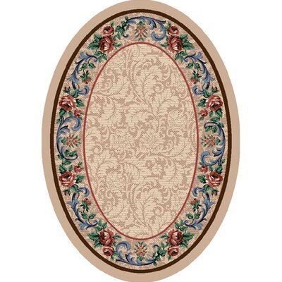 Innovation Pearl Mist Rose Damask Area Rug Rug Size: Oval 54 x 78