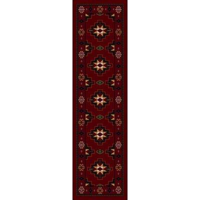 Signature Prairie Star Garnet Area Rug Rug Size: Round 77