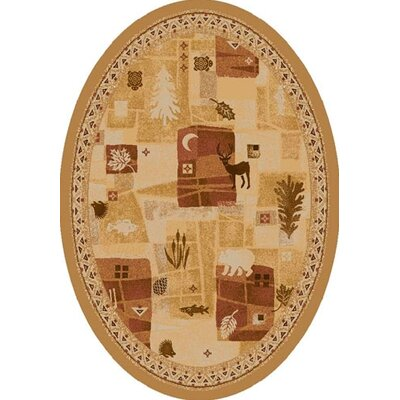 Signature Deer Trail Maize Area Rug Rug Size: Oval 54 x 78
