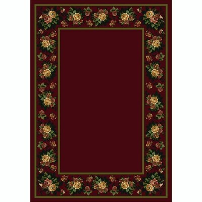 Design Center Cranberry Floral Lace Area Rug Rug Size: Runner 24 x 156