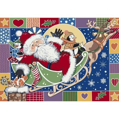 Winter Seasonal Patchwork Santa Area Rug Rug Size: Rectangle 310 x 54