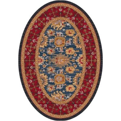 Pastiche Karshi Blue Grey Rug Rug Size: Oval 78 x 109