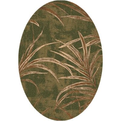 Pastiche Rain Forest Deep Olive Oval Rug Rug Size: Oval 3'10