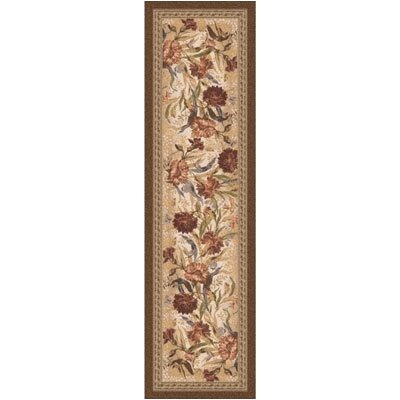 Pastiche Barrington Court Floral Cocoa Runner Rug Size: 21 x 78