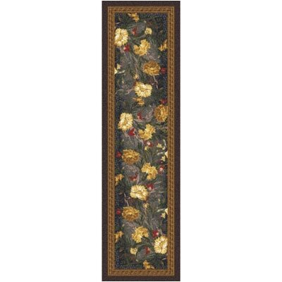 Pastiche Barrington Court Floral Ebony Runner Rug Size: 21 x 78