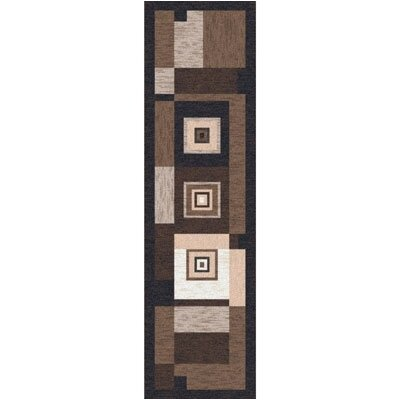 Pastiche Bloques Brown Leather Contemporary Runner Rug Size: 21 x 78