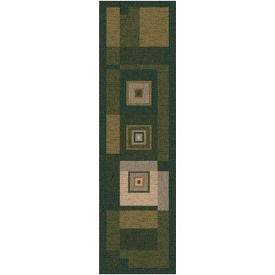 Pastiche Bloques Deep Olive Contemporary Runner Rug Size: 21 x 78