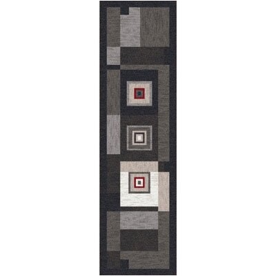 Pastiche Bloques Ebony Contemporary Runner Rug Size: 21 x 78