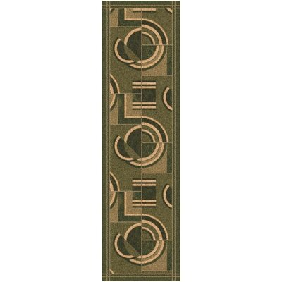 Pastiche Modernes Deep Olive Contemporary Runner Rug Size: 21 x 78