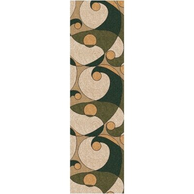 Pastiche Remous Deep Olive Contemporary Runner Rug Size: 21 x 78