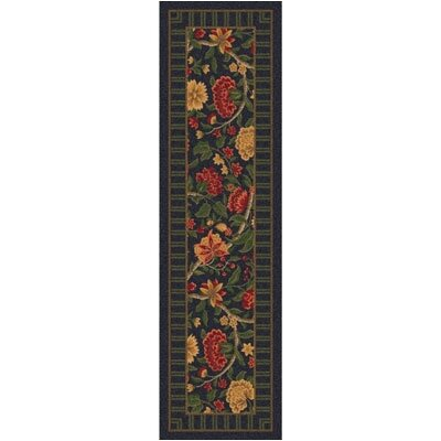 Pastiche Vachell Ebony Floral Runner Rug Size: 21 x 78