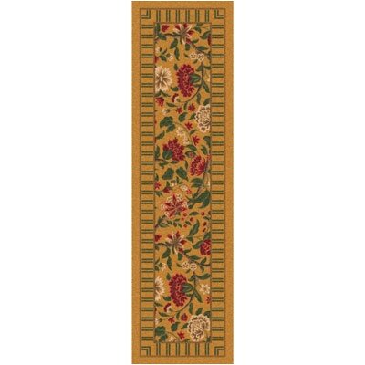 Pastiche Vachell Gold Floral Runner Rug Size: 21 x 78