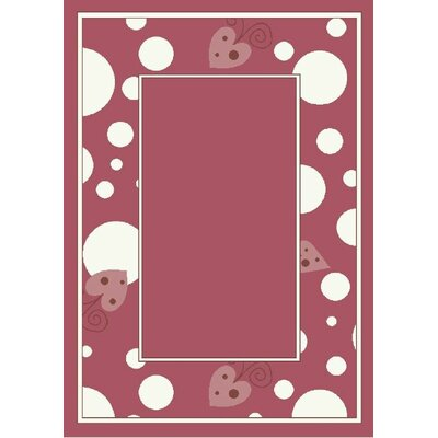 Activity Sweetheart Border Red Area Rug Rug Size: 78 x 109