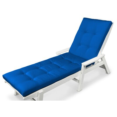 Luxe� Outdoor Chaise Lounge Cushion Fabric: Pacific Blue, Size: 22 W x 72 D