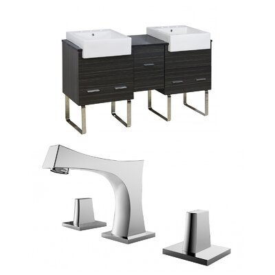 Mulberry Floor Mount 62 Single Bathroom Rectangular Vanity Set Faucet Mount: 8 Centers, :