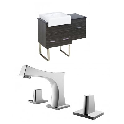 Mulberry Floor Mount 38 Single Bathroom Rectangular Vanity Set with Ceramic Top Faucet Mount: 8 Centers