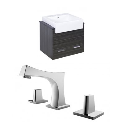 Mulberry Wall Mount 24 Single Bathroom Rectangular Vanity Set Faucet Mount: 8 Centers