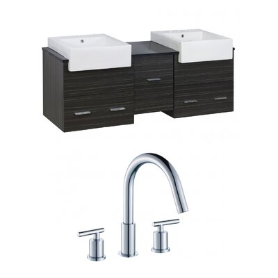 Mulberry Wall Mount 62 Single Bathroom Plywood Vanity Set Faucet Mount: 8 Centers