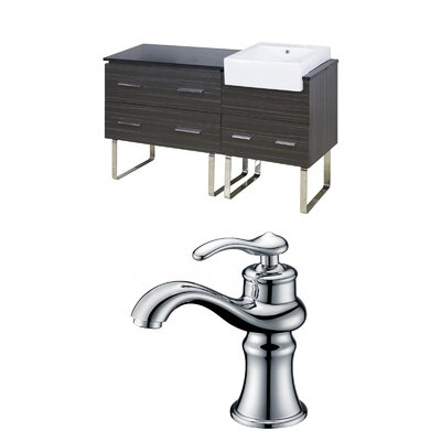 Mulberry Floor Mount 60 Single Bathroom Rectangular Vanity Set Faucet Mount: Single Hole