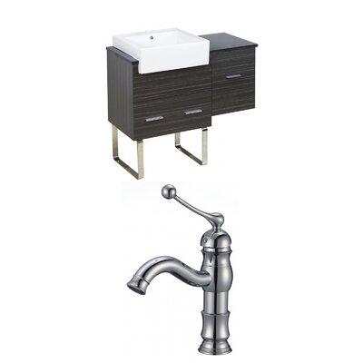 Mulberry Floor Mount 38 Single Bathroom Rectangular Vanity Set with Ceramic Top Faucet Mount: Single Hole