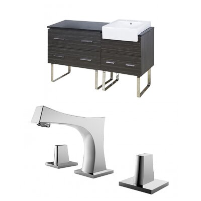 Mulberry Floor Mount 60 Single Bathroom Rectangular Vanity Set with Ceramic Top Faucet Mount: 8 Centers