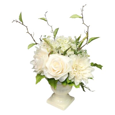 Mixed Centerpiece in Urn Flower Color: Cream