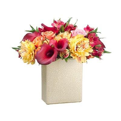 Mixed Flower Floral Arrangement in Ceramic Pot