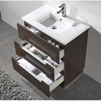 Verona 30 Single Bathroom Vanity Set with Mirror Base Finish: Walnut