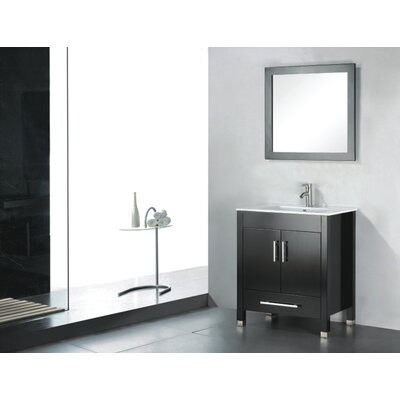 Vidya 24 Single Wood Bathroom Vanity Set with Mirror Base Finish: Espresso