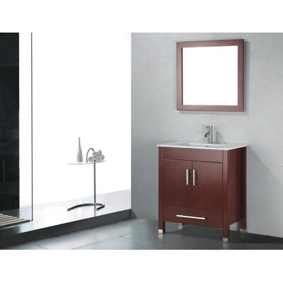Vidya 30 Single Wood Bathroom Vanity Set with Mirror Base Finish: Chestnut