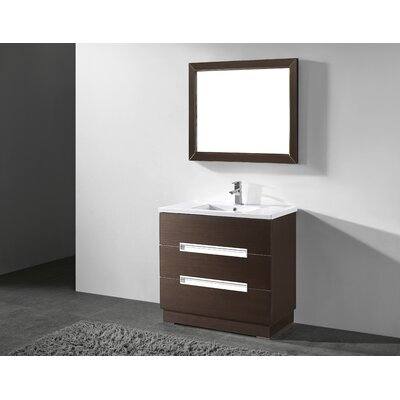 Verona 36 Single Bathroom Vanity Set with Mirror Base Finish: Walnut