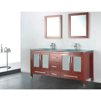Amara 72 Double Bathroom Vanity Set with Mirror Base Finish: Chestnut