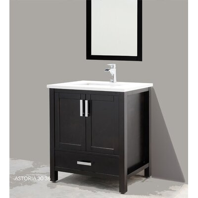 Astoria 36 Single Bathroom Vanity Set with Mirror Base Finish: Espresso