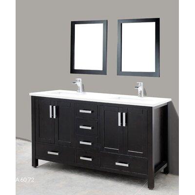 Astoria 60 Double Bathroom Vanity Set with Mirror Base Finish: Espresso