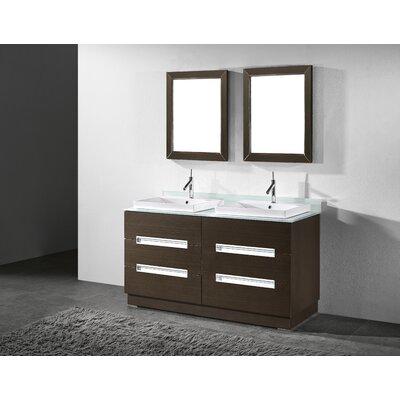Verona 60 Double Bathroom Vanity Set with Mirror Base Finish: Walnut
