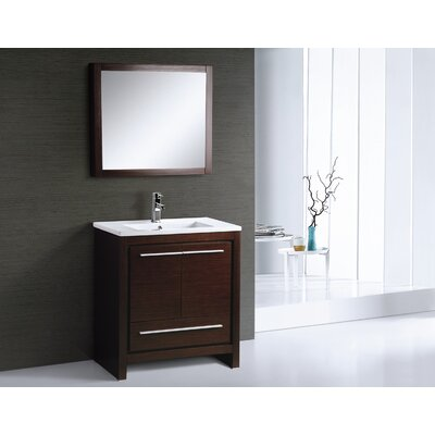 Alexa 30 Single Vanity with Mirror Finish: Wenge