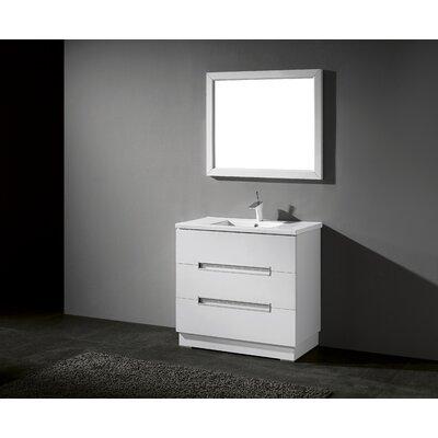 Verona 36 Single Bathroom Vanity Set with Mirror Base Finish: High Gloss White