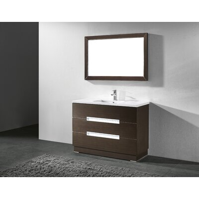 Verona 48 Single Bathroom Vanity Set with Mirror Base Finish: Walnut