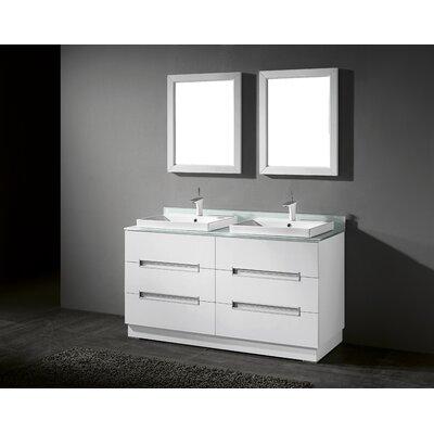 Verona 60 Double Bathroom Vanity Set with Mirror Base Finish: High Gloss White