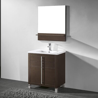 Turin 30 Single Bathroom Vanity Set with Mirror Base Finish: Walnut