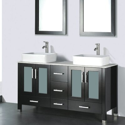 Adrian 59 Double Bathroom Vanity Set with Mirror Base Finish: Espresso