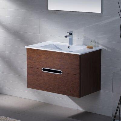 Yakira 32 Single Bathroom Vanity Set with Mirror Base Finish: Walnut