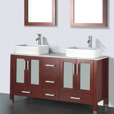 Adrian 59 Double Bathroom Vanity Set with Mirror Base Finish: Chestnut